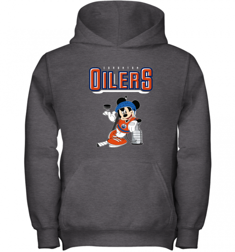 stsk mickey edmonton oilers with the stanley cup hockey nhl shirt youth hoodie 43 front dark heather