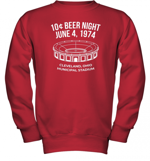 bymm cleveland baseball shirt retro 10 cent beer night youth sweatshirt 47 front red