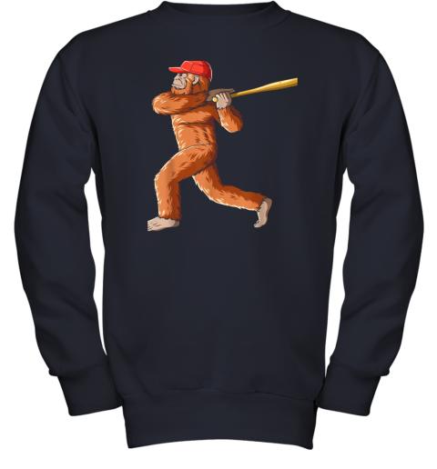 tv08 bigfoot baseball sasquatch playing baseball player youth sweatshirt 47 front navy