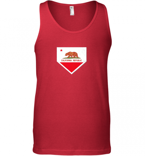 gtw7 vintage baseball home plate with california state flag unisex tank 17 front red