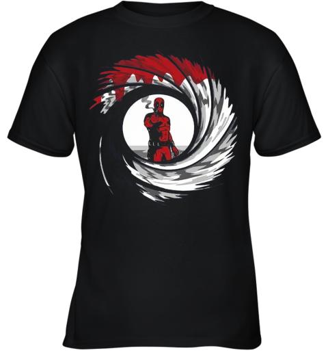 Mashup Deadpool 007 Jame Bond Gun Barrel Youth T-Shirt
