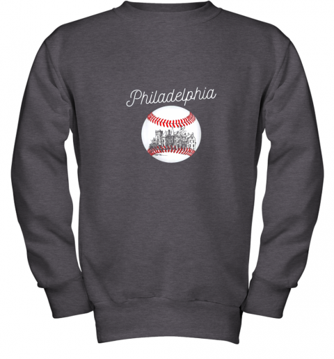 1ghk philadelphia baseball philly tshirt ball and skyline design youth sweatshirt 47 front dark heather