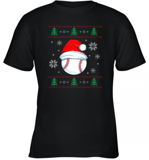 Ugly Christmas Baseball Shirt Boys Kids Ball Santa Pajama Youth T-Shirt