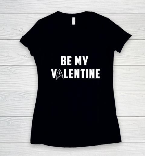 Star Trek Be My Valentine Delta Badge Graphic Women's V-Neck T-Shirt