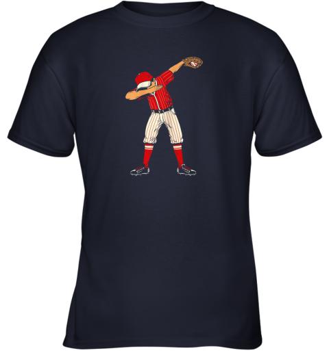 dowk dabbing baseball catcher gift shirt kids men boys bzr youth t shirt 26 front navy