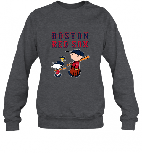 n3y6 boston red sox lets play baseball together snoopy mlb shirt sweatshirt 35 front dark heather