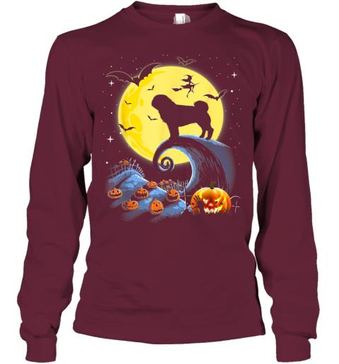 Pug Dog And Moon Funny Halloween Costume Gift Youth Long Sleeve