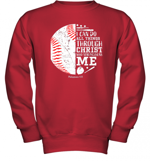 761o christian baseball shirts i can do all things through christ youth sweatshirt 47 front red
