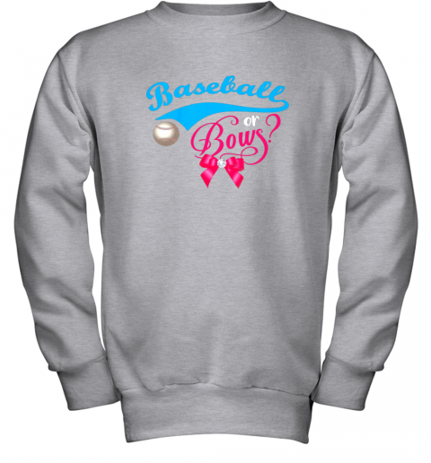 luzl cute baseball or bows gender reveal party youth sweatshirt 47 front sport grey