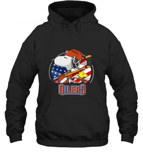 Edmonton Oilers Ice Hockey Snoopy And Woodstock NHL Hoodie