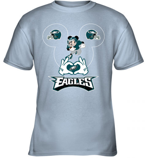 vwqs i love the eagles mickey mouse philadelphia eagles youth t shirt 26 front light blue