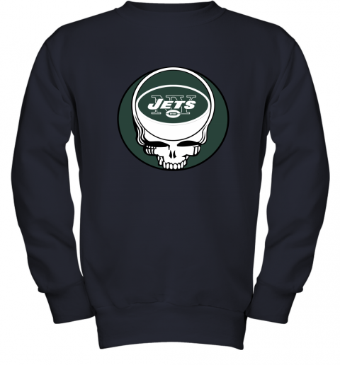 vato nfl team new york jets x grateful dead logo band youth sweatshirt 47 front navy
