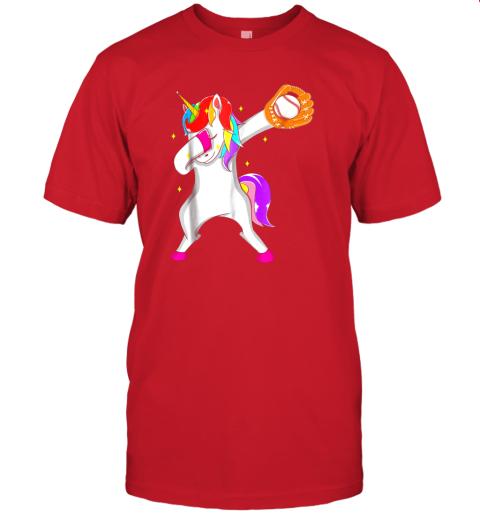 0eu3 softball dabbing unicorn baseball girls teens jersey t shirt 60 front red