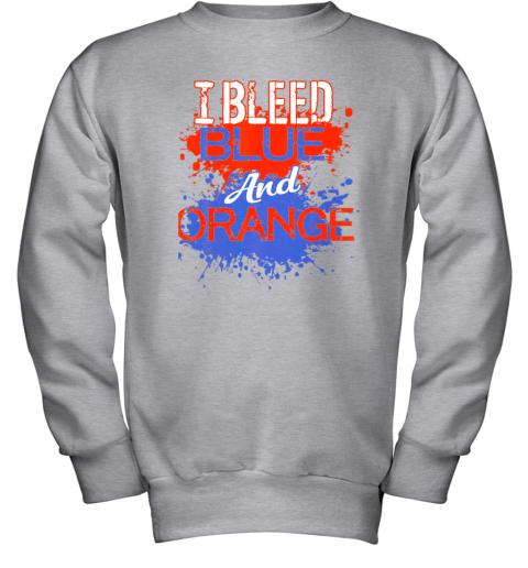 ixtd i bleed blue and orange fan shirt football soccer baseball youth sweatshirt 47 front sport grey