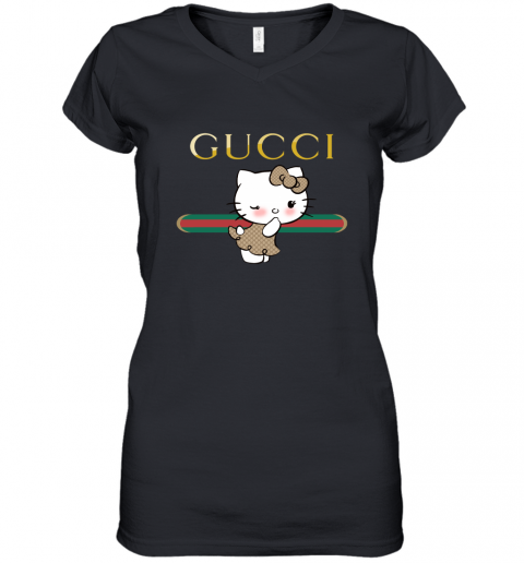 gwvm gucci hello kitty youth kids pullover women v neck t shirt 39 front black