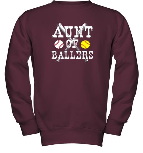 evrz vintage aunt of ballers shirt funny baseball softball love youth sweatshirt 47 front maroon