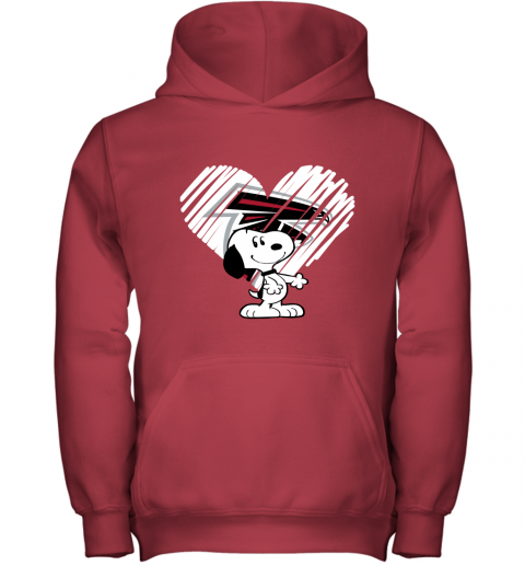 r96b a happy christmas with atlanta falcons snoopy youth hoodie 43 front red