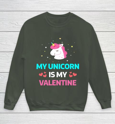 Funny Valentines Day Shirt Unicorn Is My Valentine Youth Sweatshirt 8