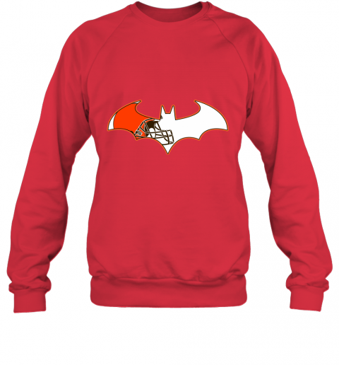 qunl we are the cleveland browns batman nfl mashup sweatshirt 35 front red