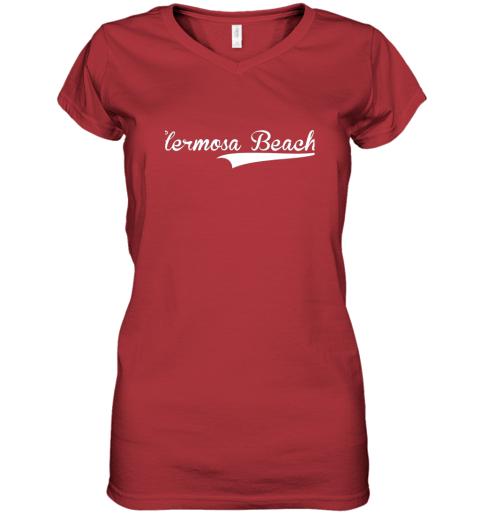 lyrq hermosa beach baseball softball styled women v neck t shirt 39 front red