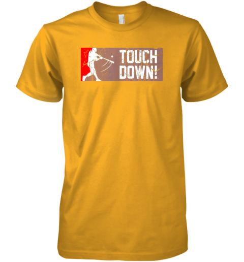 0p8j touchdown baseball funny family gift base ball premium guys tee 5 front gold