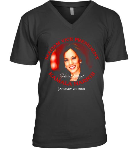 Madam Vice President Kamala Harris Hert Store January 20 2021 V-Neck T-Shirt