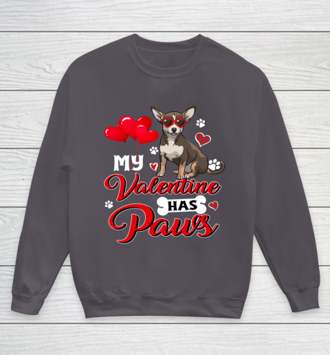 My Valentine Has Paws Chihuahua Valentine s Day Youth Sweatshirt 5