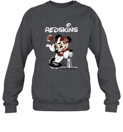 c2wj mickey redskins taking the super bowl trophy football sweatshirt 35 front dark heather