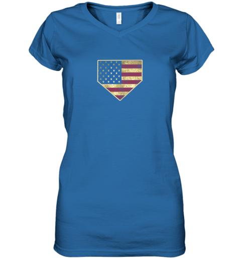 kquw vintage american flag baseball shirt home plate art gift women v neck t shirt 39 front royal