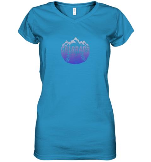 n4uh colorado baseball rocky mountains women v neck t shirt 39 front sapphire