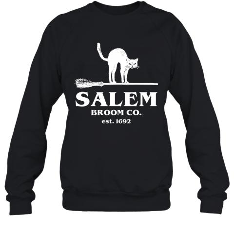 Salem Broom Co Company Halloween Black Cat Witch and Broom Sweatshirt