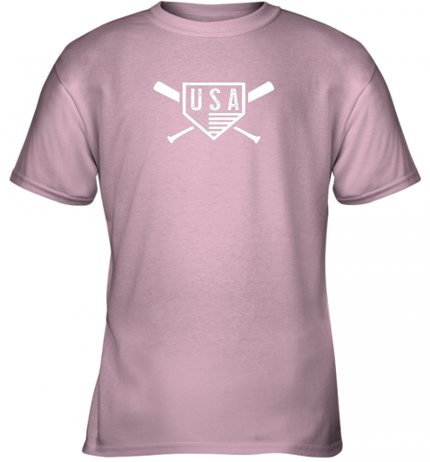 sk4w vintage american baseball and softball usa flag youth t shirt 26 front light pink