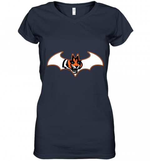wop9 we are the cincinnati bengals batman nfl mashup women v neck t shirt 39 front navy