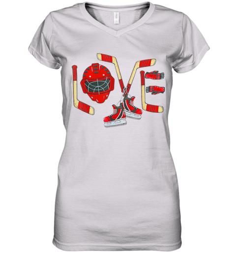 Love Ice Hockey Valentines Day Women's V-Neck T-Shirt