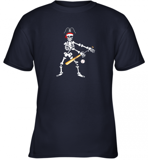 wb7n skeleton pirate floss dance with baseball shirt halloween youth t shirt 26 front navy