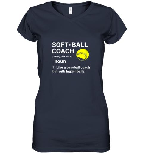 ywqb soft ball coach like baseball bigger balls softball women v neck t shirt 39 front navy