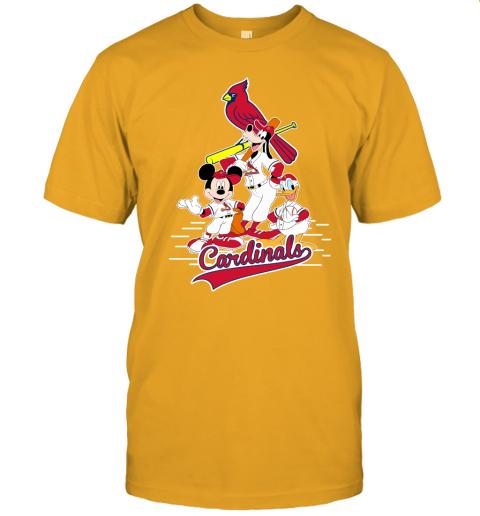 7wpr st louis cardinals mickey donald and goofy baseball jersey t shirt 60 front gold