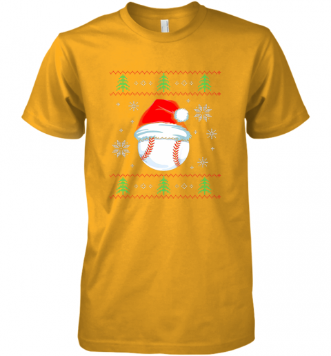 bd9m ugly christmas baseball shirt boys kids ball santa pajama premium guys tee 5 front gold