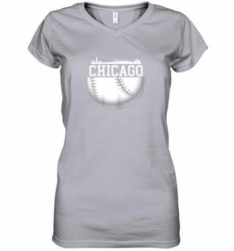 vsrp vintage downtown chicago shirt baseball retro illinois state women v neck t shirt 39 front sport grey