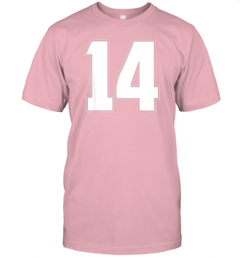 6114 halloween group costume 14 sport jersey number 14 14th bday jersey t shirt 60 front pink
