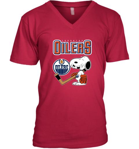 snat edmonton oilers ice hockey broken teeth snoopy nhl shirt v neck unisex 8 front cherry red