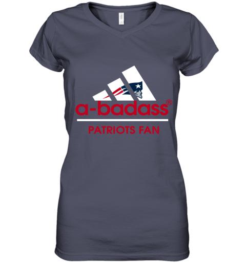 wumj a badass new england patriots mashup adidas nfl shirts women v neck t shirt 39 front heather navy