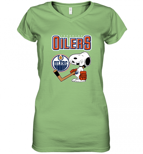 vmly edmonton oilers ice hockey broken teeth snoopy nhl shirt women v neck t shirt 39 front lime