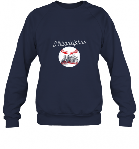 qy32 philadelphia baseball philly tshirt ball and skyline design sweatshirt 35 front navy