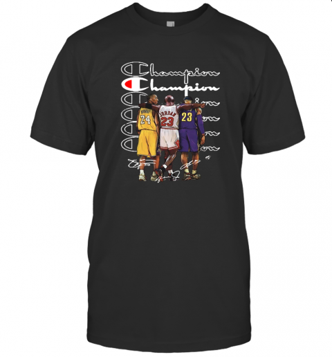 Premium Kobe Bryant Michael Jordan And Lebron James Champion Signatures Shirt T-Shirt