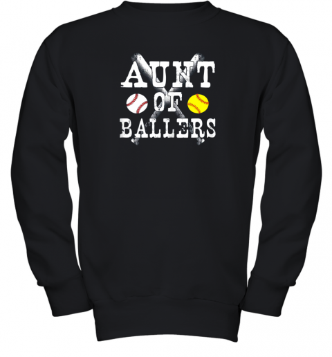 Vintage Aunt of Ballers Shirt Funny Baseball Softball Love Youth Sweatshirt