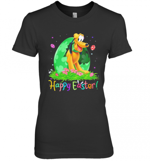 Disney Pluto Happy Easter Flower Premium Women's T-Shirt