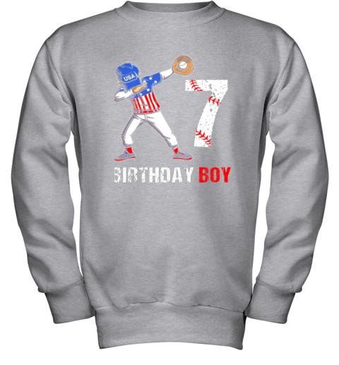 acmm kids 7 years old 7th birthday baseball dabbing shirt gift party youth sweatshirt 47 front sport grey