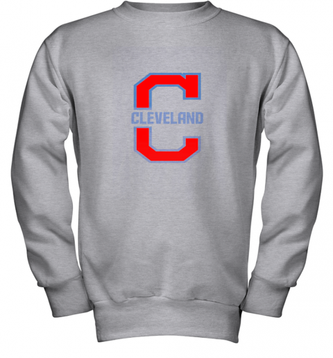 9lle cleveland hometown indian tribe vintage for baseball fans youth sweatshirt 47 front sport grey