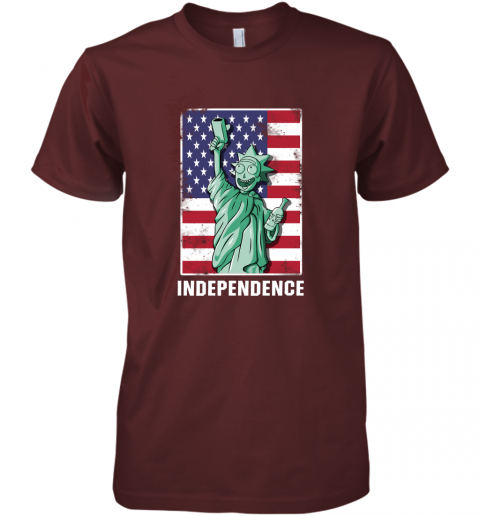 pjvm rick and morty statue of liberty independence day 4th of july shirts premium guys tee 5 front maroon